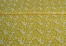 Textil - Látka žltá motýliková   1 bm - 8130951_