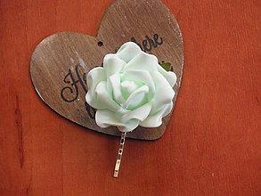 Ozdoby do vlasov - Sponka - mentolová ruža - 8131681_