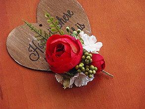 Ozdoby do vlasov - Sponka - červená ruža s bielou - 8131684_