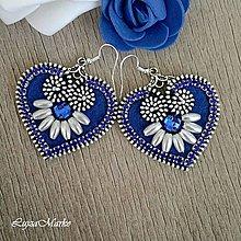 Náušnice - Mini ľudové modré náušnice - 8130374_