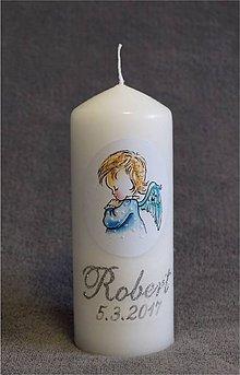 Svietidlá a sviečky - krstová sviečka s anjelikom - modrá - 8134264_