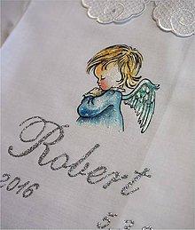 Detské oblečenie - košieľka na krst s anjelikom - modrá - 8134285_