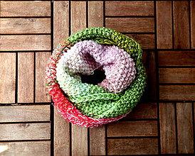 Šály - Nákrčník zeleno-ružovo-lila - 8132874_