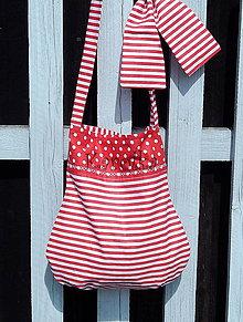Detské tašky - Detská taška - Keď sa pásik s bodkou ľúbi - červený pásik - 8133583_
