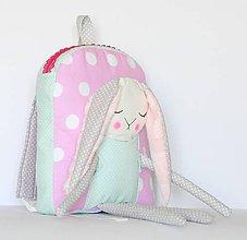 Detské tašky - RUKSAK so ZAJAČICOU mentolovo - ružovo - sivý 2,5r. - 8134338_