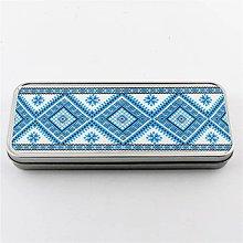 Krabičky - Plechová krabička tenká výšivka modrá 13 - 8131770_