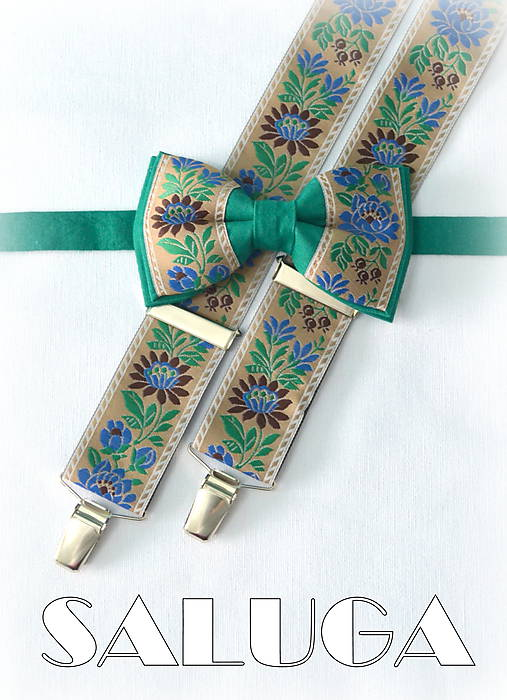 80057c90d Set - folklórny pánsky motýlik a traky - zelený - folk - hnedý ...
