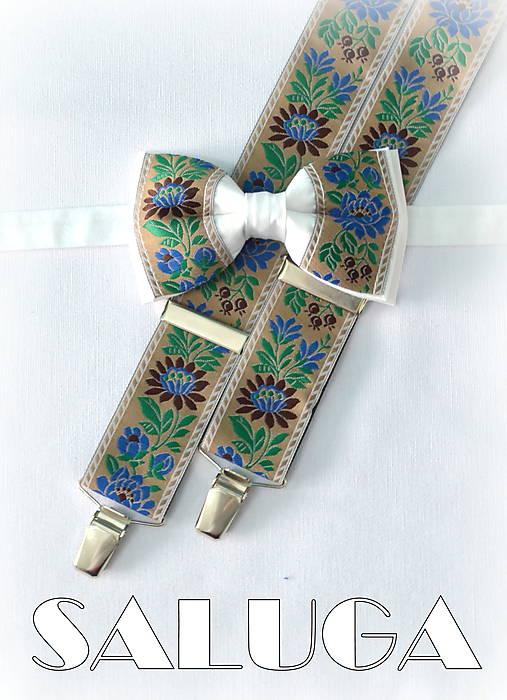 6cd29f12b Folklórny pánsky hnedý biely motýlik a traky - folkový - ľudový ...