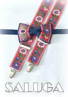 Doplnky - Set - folklórny pánsky motýlik a traky - červený - modrý - 8134047_