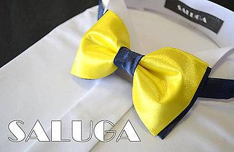 Doplnky - Žltý pánsky motýlk s modrým - žltomodrý - 8134126_