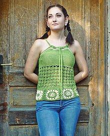 Topy - Zelený háčkovaný top - 8134300_