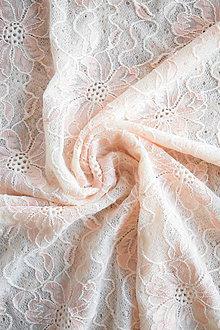 Textil - Exkluzivní elastická krajka – smetanovo-meruňková - 8133649_