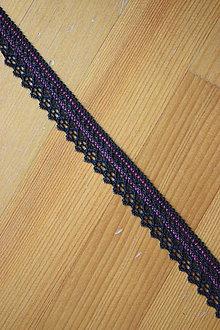 Galantéria - Krajka elastická – černorůžová, šíře 2 cm - 8133697_