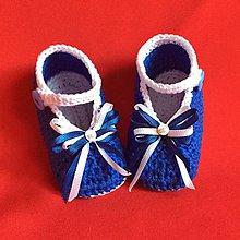 Topánočky - Háčkované papučky modré - 8132734_