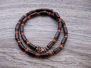 Šperky - Pánsky náhrdelník okolo krku drevený (drevený hnedo tehlový č.906) - 8134027_