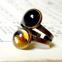 Prstene - Harmony of Gemstones Ring - Citrine & Black Agate / Prsteň Harmónia minerálov - citrín a čierny achát - 8137359_