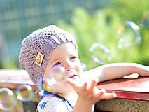 Detské čiapky - Merino: sivoružová - 8137518_
