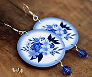 Náušnice - Náušnice Modrá kytička - 8136770_