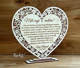 Darčeky pre svadobčanov - Srdce Poďakovanie rodičom 24 - 8136882_