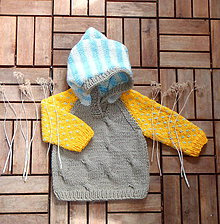 Detské oblečenie - Detský svetrík so žltými rukávmi - 8135981_