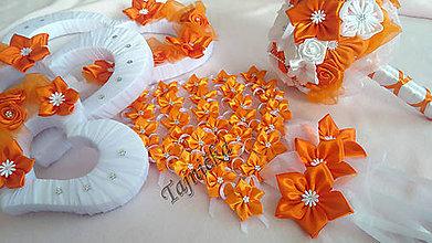 Kytice pre nevestu - Oranžová svadobná sada - 8137771_