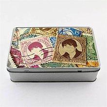 Krabičky - Plechová krabička podlhovastá - vlastné foto v známke - 8137649_