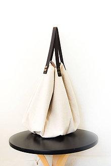Veľké tašky - Casual... obojstranná... #45... 100% ľan & kožené ramienka - 8136278_