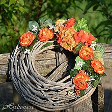 Dekorácie - Venček na dvere oranžový - 8135672_