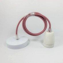 Svietidlá a sviečky - Porcelánové závesné svietidlo s textilným káblom v červeno-bielej farbe - 8136042_