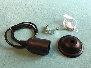 Svietidlá a sviečky - Bakelitové závesné svietidlo E27, 50cm, Čierna farba - 8136919_