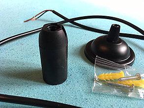 Svietidlá a sviečky - Závesné bakelitové svietidlo, E14, 100cm, Čierna farba - 8136976_
