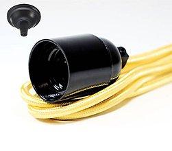Svietidlá a sviečky - Visiace bakelitové svietidlo v čiernej farbe, E27, 100cm, Žltý textilný vodič - 8137068_