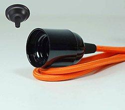 Svietidlá a sviečky - Visiace bakelitové svietidlo v čiernej farbe, E27, 100cm, Pomarančový textilný vodič - 8137077_