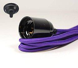 Svietidlá a sviečky - Visiace bakelitové svietidlo v čiernej farbe, E27, 100cm, Fialový textilný vodič - 8137078_