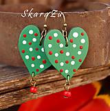 Náušnice - Heart dots green - 8134942_