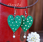 Náušnice - Heart dots green - 8137213_