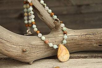 Náhrdelníky - Náhrdelník z minerálov jaspis, amazonit a jadeit - 8136778_