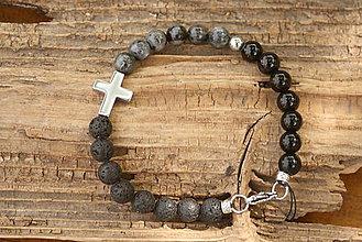 Šperky - Pánsky náramok onyx, láva, labradorit - 8139738_