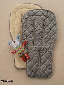Textil - MERINO podložka do kočíka BUGABOO s ozdobným prešitím ELEGANT GREY melange Sivá /šedá bavlna - 8141278_