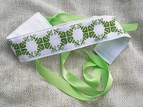 Opasky - Ľudový vyšívaný opasok Zelený - 8138222_