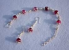 Sady šperkov - Krajkový achát fuchsia - náušnice s náramkom - 8141202_