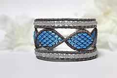 Náramky - Náramok DNA modro - biely - 8141439_