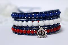 Náramky - Náramok biela, modrá, červená - 8141643_