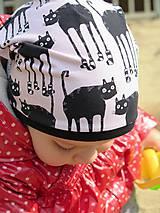 Detské čiapky - čiapka z biobavlny Mačky v ponožkách (ružová) - 8139843_