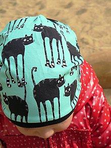 Detské čiapky - čiapka z biobavlny Mačky v ponožkách (mentol) - 8139873_
