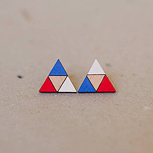 Náušnice - trojuholník bielo-modro-červený - napichovačky - 8140020_