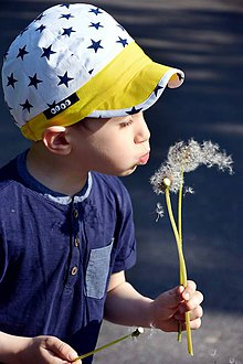 Detské čiapky - Letná šiltovka hviezdy & žltá - 8139801_