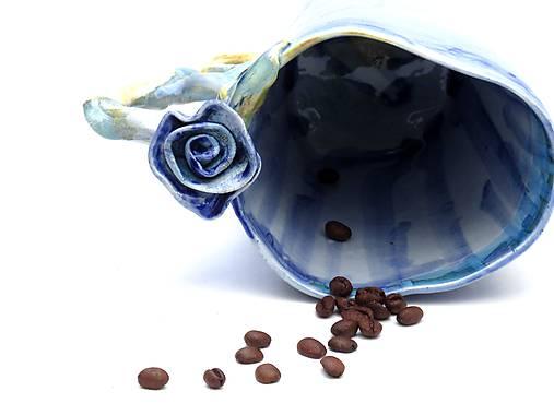 šálka XL modrá s ružou