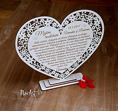 Darčeky pre svadobčanov - Srdiečko Poďakovanie rodičom 25 - 8144934_