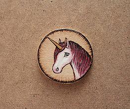 Odznaky/Brošne - Maľovaná brošňa - Jednorožec - 8143936_